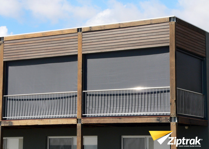 Ziptrak Outdoor Blind on balcony